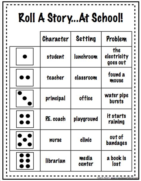 printable activity dice roll a story freebie