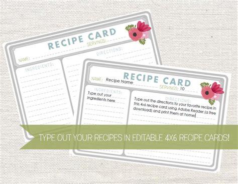 4x6 Card Template Editable by Editable 4x6 Recipe Card Instant