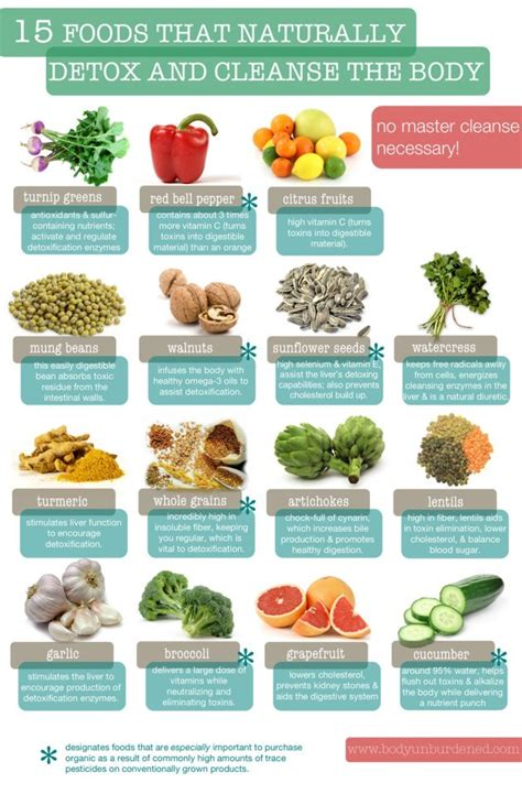 Unburdened Home Detox Guide by 15 Detox And Cleanse Foods Infographic