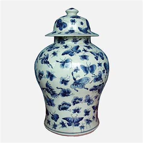 white ginger jar blue and white butterfly design ginger jar