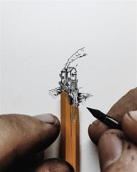 pencil drawings from photos free tiny ink drawings scaled to the size of pencils fingers