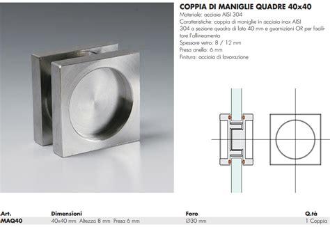 maniglie per porte in vetro maniglia maq40 174 quadra 40 incasso inox per porte in vetro