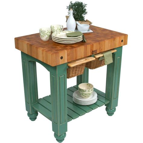 Kitchen Island Gathering Table by Boos Gathering Butcher Block With 2 Wicker Baskets