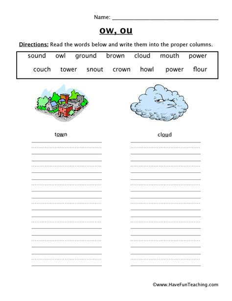 Ow Worksheets by Ow Ou Worksheet