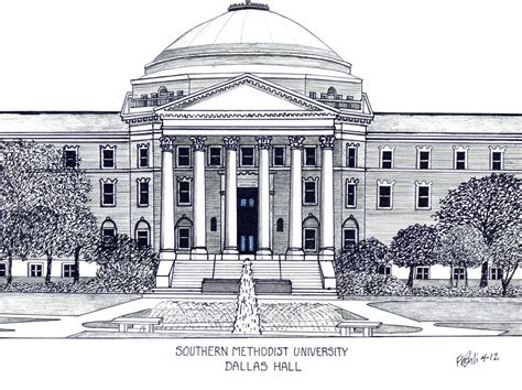 Drawing 1 In College by Southern Methodist Drawing By Frederic Kohli