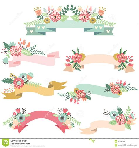 wedding floral banners stock vector image 57316539 - Wedding Banner Illustration