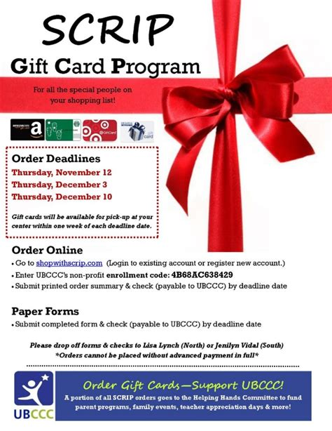 Scrip Gift Card - annual scrip gift card program university at buffalo child care center university