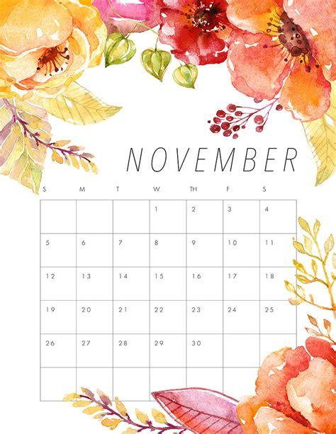 Printable Calendar November 2017 Pinterest   free printable 2017 floral calendar the cottage market
