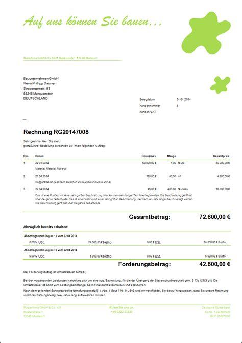 Rechnungskorrektur Gutschrift Muster Limtax 174 Invoice 2017 Beispielausdruck