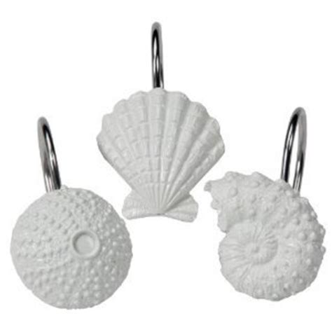 shell shower curtain hooks com tropical beach shell bathroom bath shower