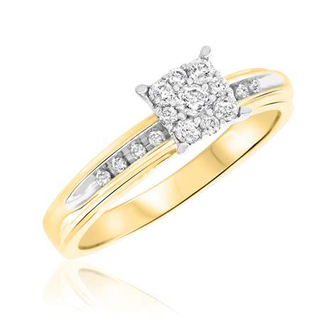 1 3 carat t w engagement ring 10k yellow