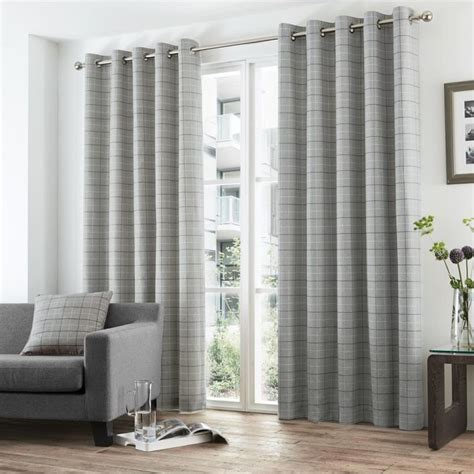 check eyelet curtains grey stripe check lined eyelet curtains