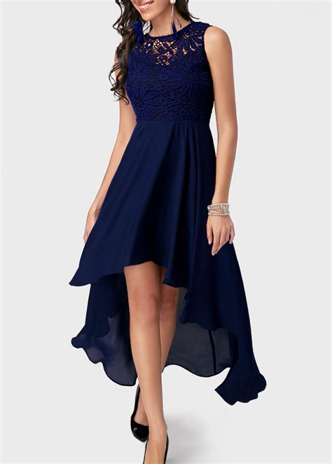 Dress Blue Navy lace panel high low navy blue dress navy
