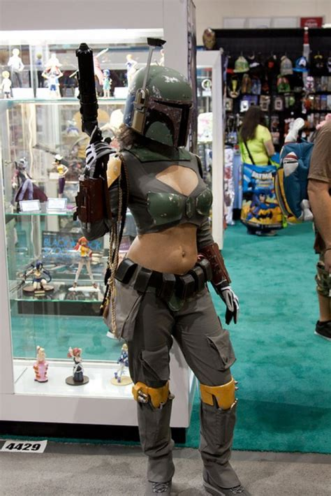 female boba fett cosplay with awesome helmet