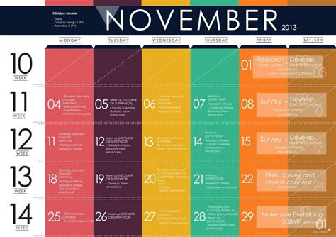 magazine design university course clear and simple schedule design split into weeks