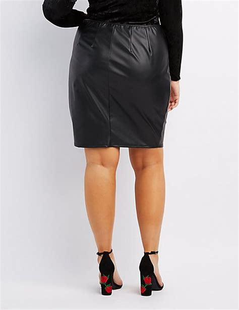plus size faux leather zip front pencil skirt