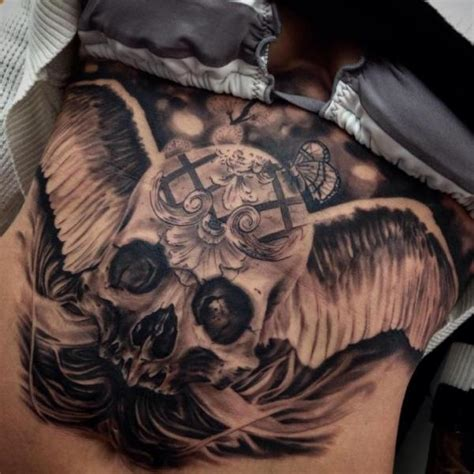 tattoo angel skull angel wings skull realistic tattoo by drew apicture best