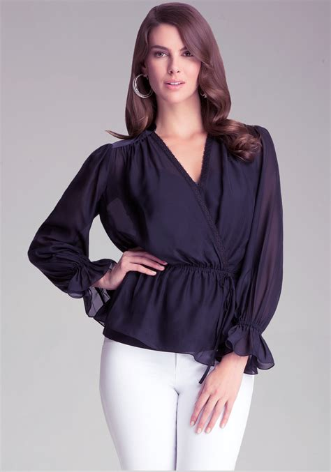 Silk Chiffon Top by Lyst Bebe Silk Chiffon Tie Waist Top In Black