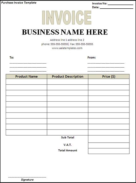 Purchase Invoice Template purchase invoice template page word excel pdf