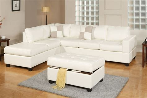 Sacramento Cream White Leather Sectional Sofa By Urban Houzz Sectional Sofas