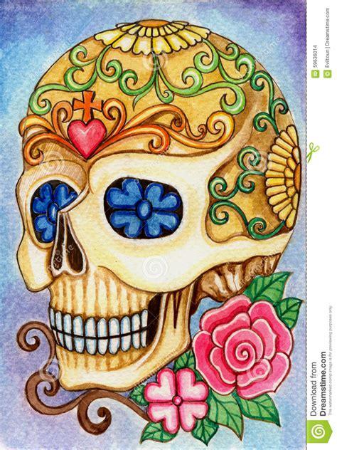 design love fest day of the dead art skull day of the dead festival stock illustration