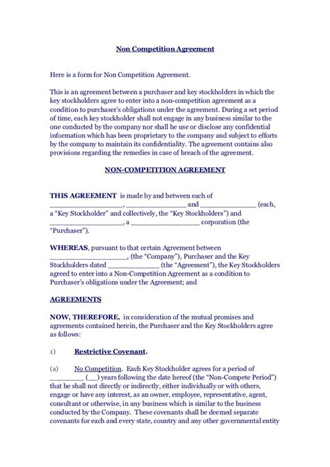 Non Competition Agreement Non Compete Release Letter Template