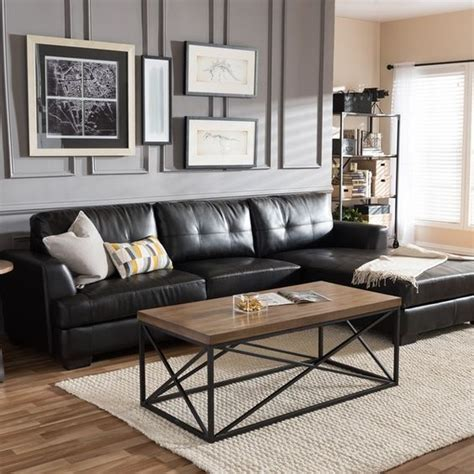 Dobson Sectional Sofa Dobson Black Leather Modern Sectional Sofa By Baxton Studio Sectional Sofas Studios And Black