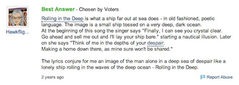 adele best songs yahoo answers quot rolling in the deep quot meaning what does quot rolling in the