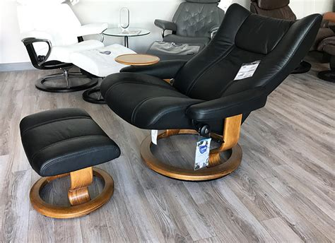 stressless wing black leather recliner chair and