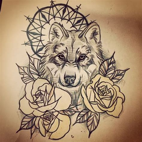 delightful wolf and yellow roses tattoo design