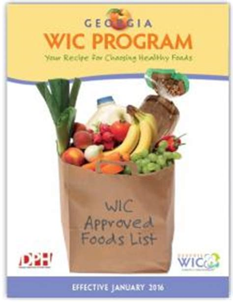 wic approved foods list department of health