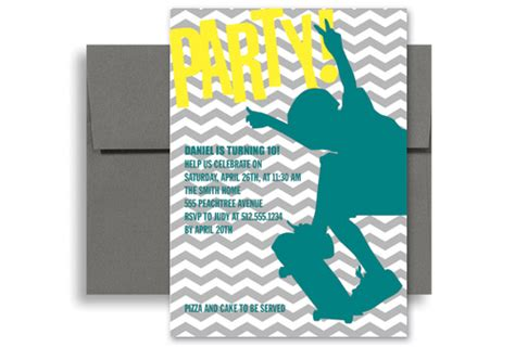 boys skating surfing birthday party invitations 5x7 in
