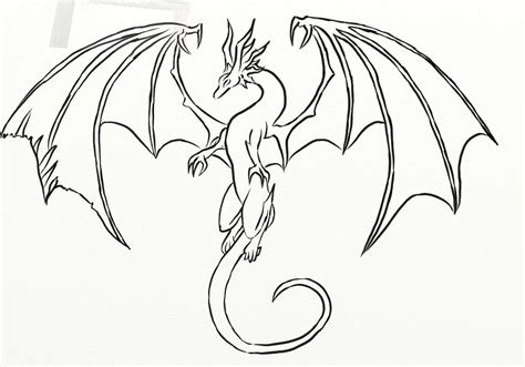 Simple Dragon Coloring Page | free easy drawing dragons coloring pages