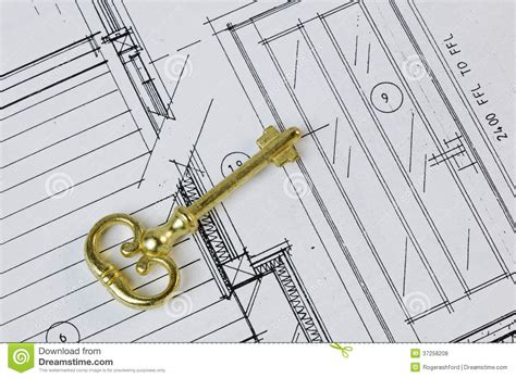 key concepts home design antique key on house plan royalty free stock photos
