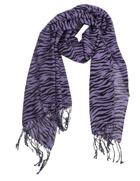 stylish striped zebra print scarf purple
