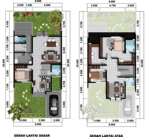8 contoh denah rumah minimalis type 45 1 dan 2 lantai