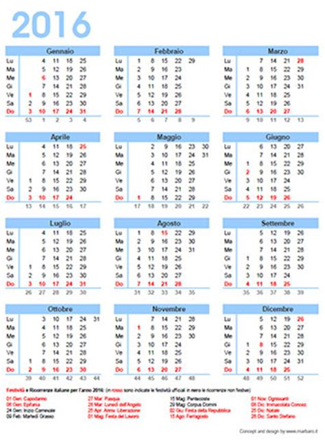 Calendario Giorni Festivi Italia 2016 2016 Calendar Giorni Festivi