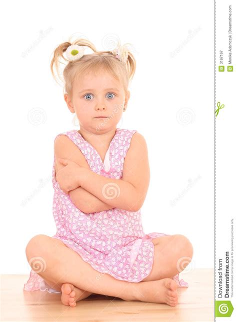 angry little girl in pink isolated on a white background 4 years old angry girl royalty free stock photography
