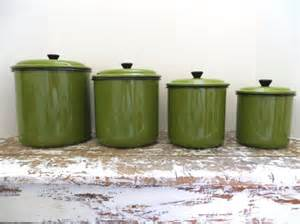 kitchen canister sets vintage vintage green enamel canister set metal canister kitchen