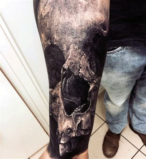 shaded skull tattoo designs 50 realistic skull tattoos for masculine design ideas