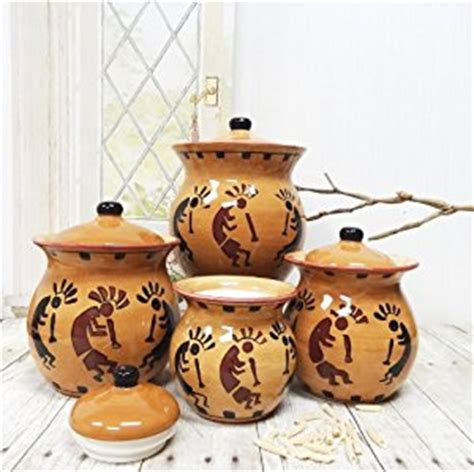 western kitchen canister sets amazon com western kokopelli hand painted ceramic 4pc