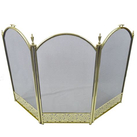 screen brass 3 panel protector cover fireplace shield