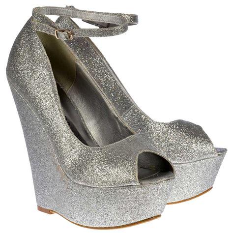 onlineshoe silver glitter wedge peep toe platform shoes