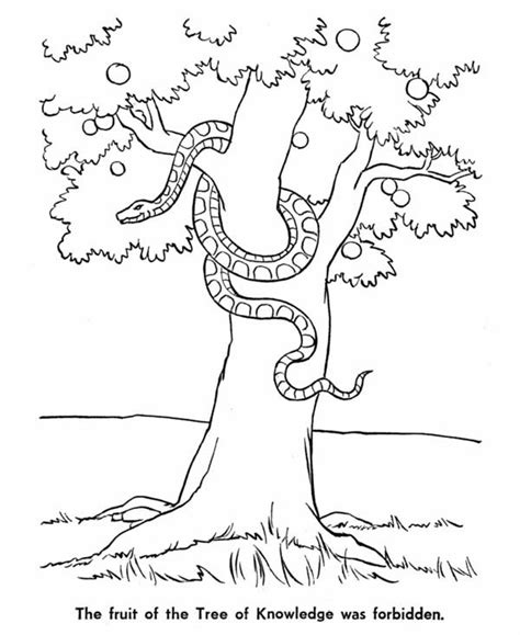 coloring pages of the garden of eden of eden snake and tree of knowledge in garden of eden
