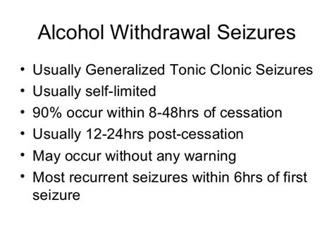 Seizures After Detox by Withdrawal Syndromes