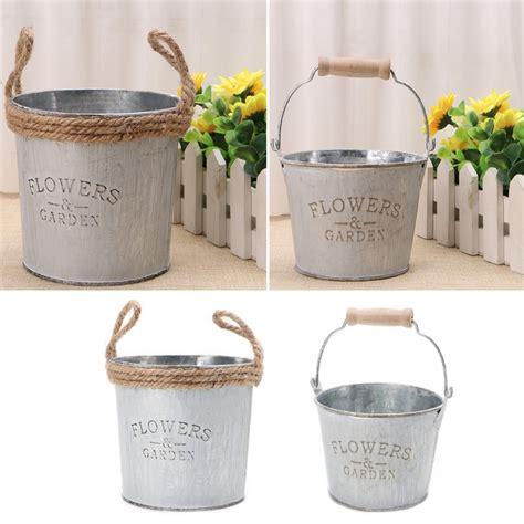 Pot Shabby vintage galvanised metal iron flower garden shabby vase pot barrel planter decor flower lanters