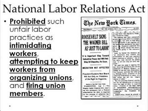 national labor relations act section 8 gps ssush 18b wagner act nlra video 91 youtube
