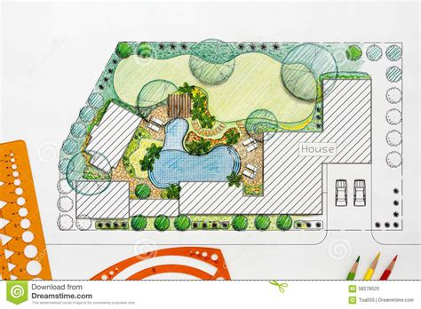 landscape architect design backyard plan  villa stock