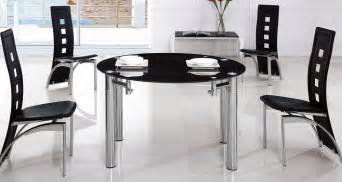 round extending glass dining table amp 6 chairs glass