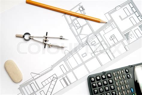 architecture tools for drawing architecture blueprint tools stock photo colourbox